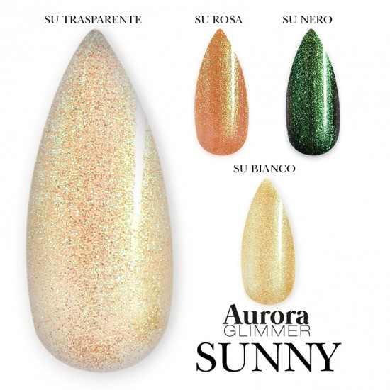 Aurora Glimmer SUNNY 15 ml - Gel sigillante senza dispersione uv/led - 15 ml